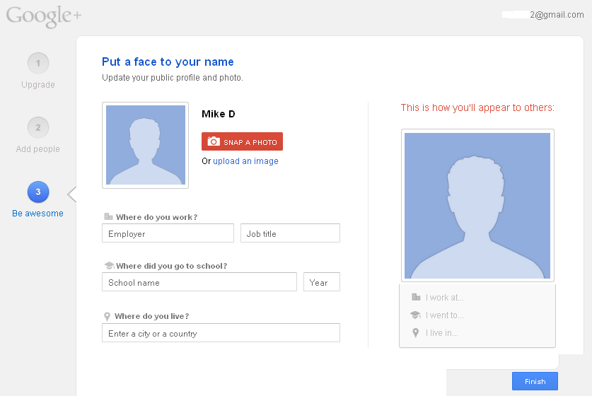 Insert personal details on Google+