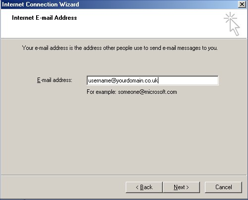 974cc210 Type your email address into the text box in the form  username@yourdomainname.co.uk, this must all be in lower case.